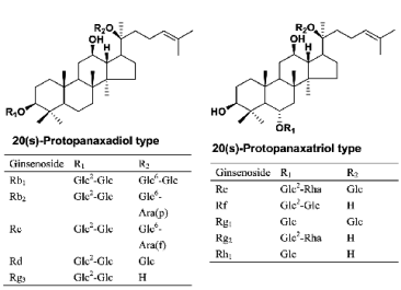 Structures-of-ginsenosides-from-Panax-ginseng-Glc-glucose-Rha-rhamnose-Araf